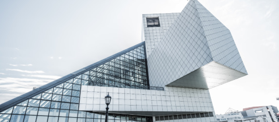 exterior of the rock and roll hall of fame